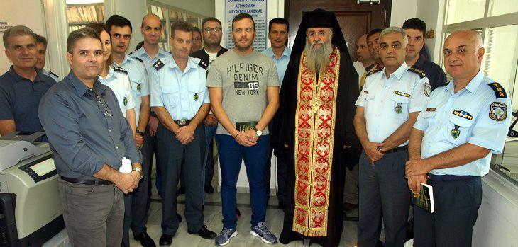Στην Αστυνομική Διεύθυνση Λακωνίας. Στην φωτο διακρίνονται οι συμπατριώτες μας Αστυνομικός Διευθυντής Λακωνίας Ηλ. Αξιοτόπουλος και ο Αστυνομικός Υποδιευθυντής Βασ. Τσιγαρίδης (δεξιά)