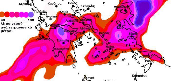 60 - 70 λίτρα νερού ανα τετραγωνικό μέτρο, αναμένονται κατά τις βροχοπτώσεις του Σαββάτου στην περιοχή της Μεσσηνίας, σύμφωνα με τη φωτό που έχει αναρτήσει ο Σ. Αρναούτογλου στον προσωπικό του λογαριασμό στο facebook